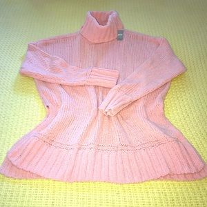 NWT Aerie Pink Chenille Turtleneck Sweater Sz S